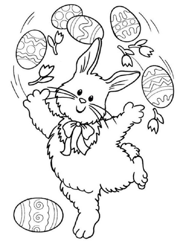 Cute Bunny Easter Coloring Pages