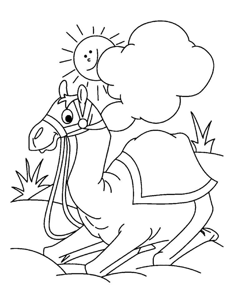 Cute Camel Coloring Page For Kids