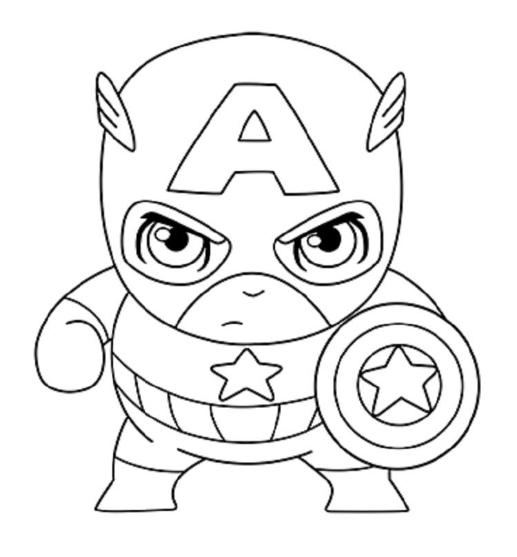 Cute Captain America Coloring Pages