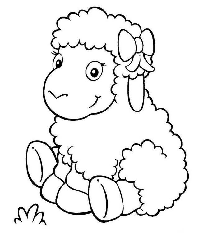 Cute Cartoon Lamb Coloring Picture For Kids