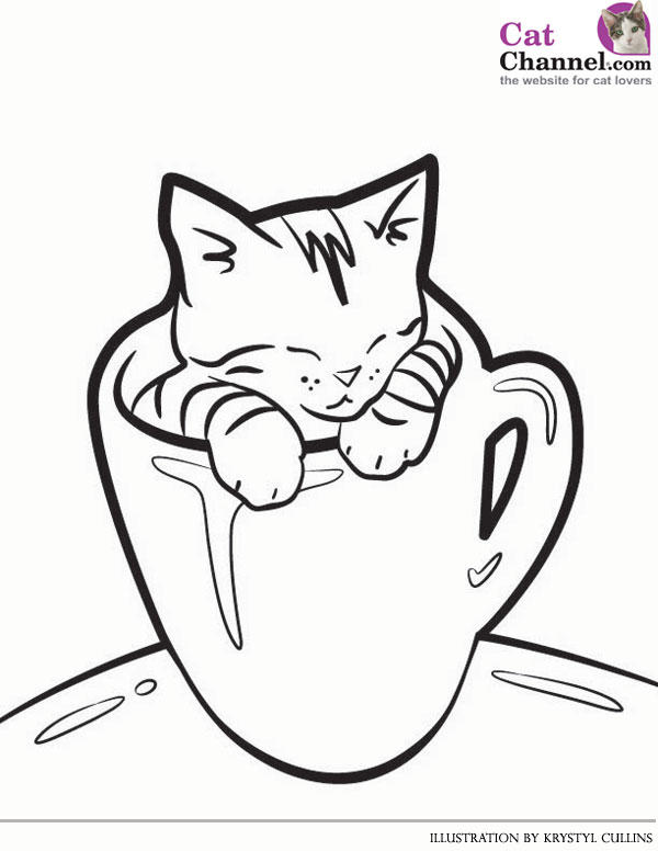 Cute Cat Coloring Pages 1