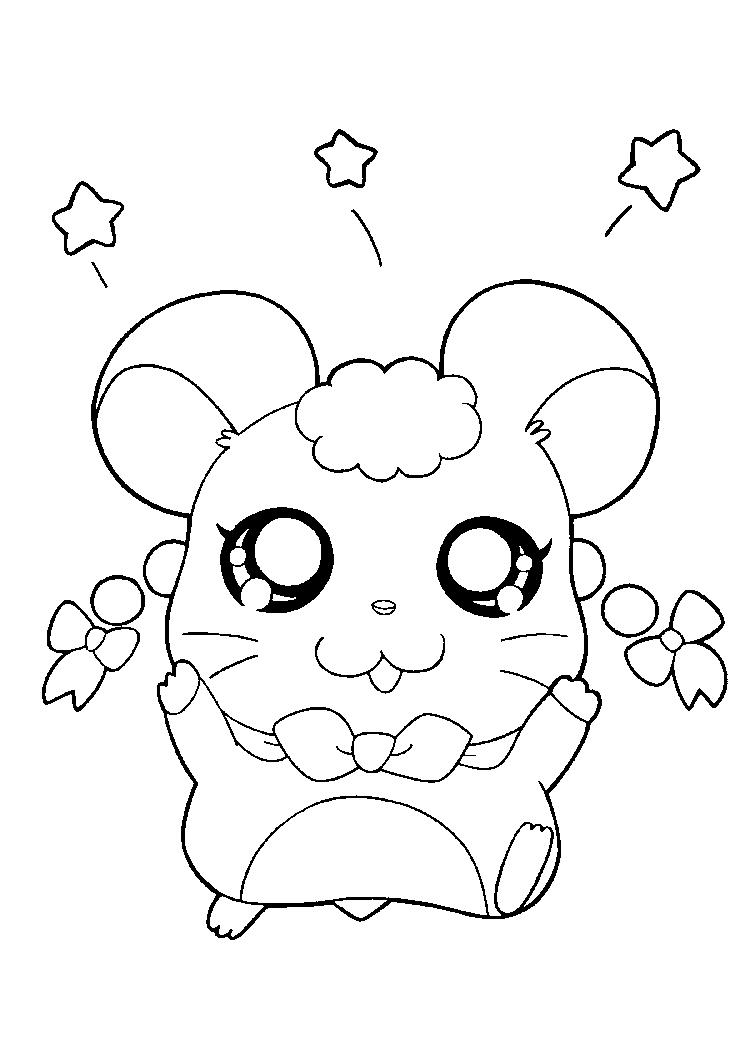 Cute Character Of Hamtaro Coloring Pages For Kids