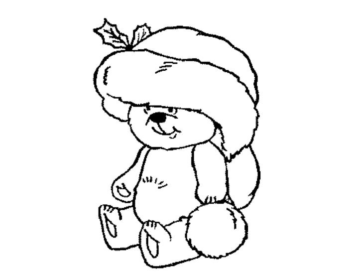 Cute Christmas Bear Coloring Page
