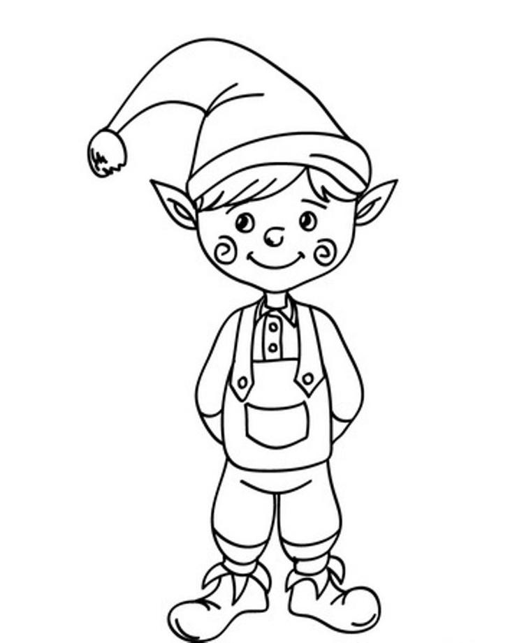 Cute Christmas Elf Coloring Pages