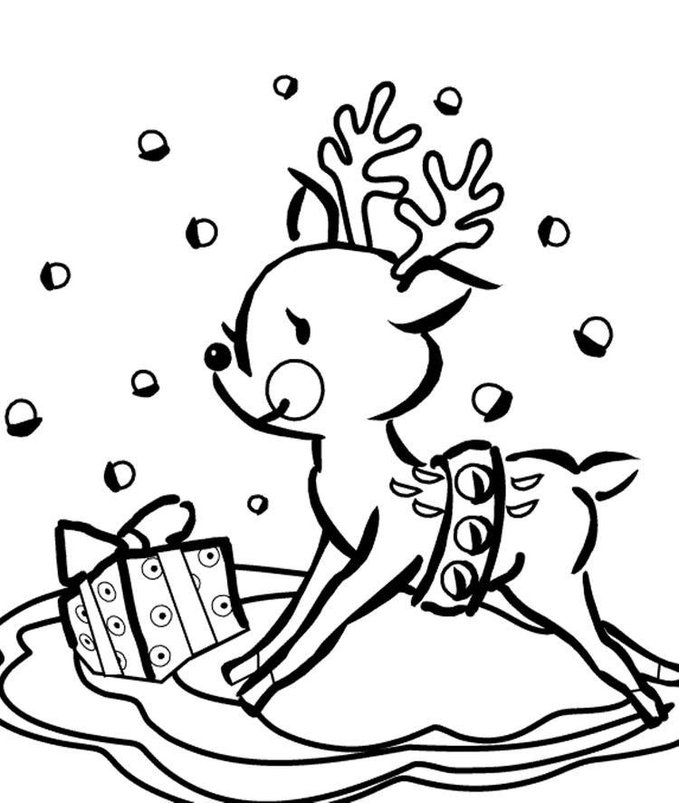 Cute Christmas Reindeer Coloring Pages