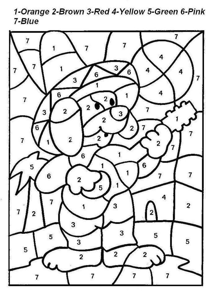 Cute Color By Numbers Coloring Pages