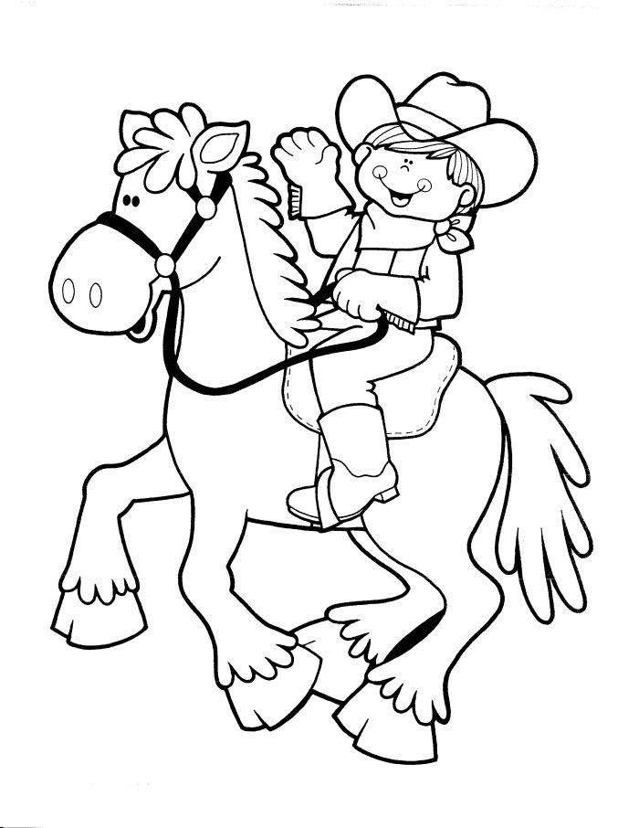 Cute Cowboy Coloring Pages Riding Horse