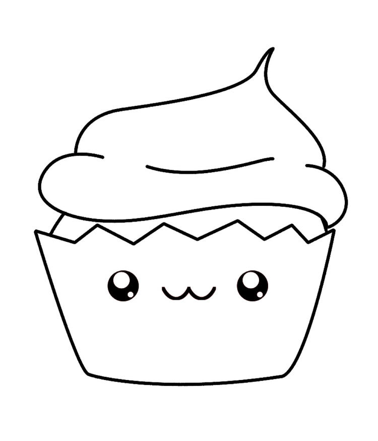 Cute Cupcake Coloring Pages For Kids