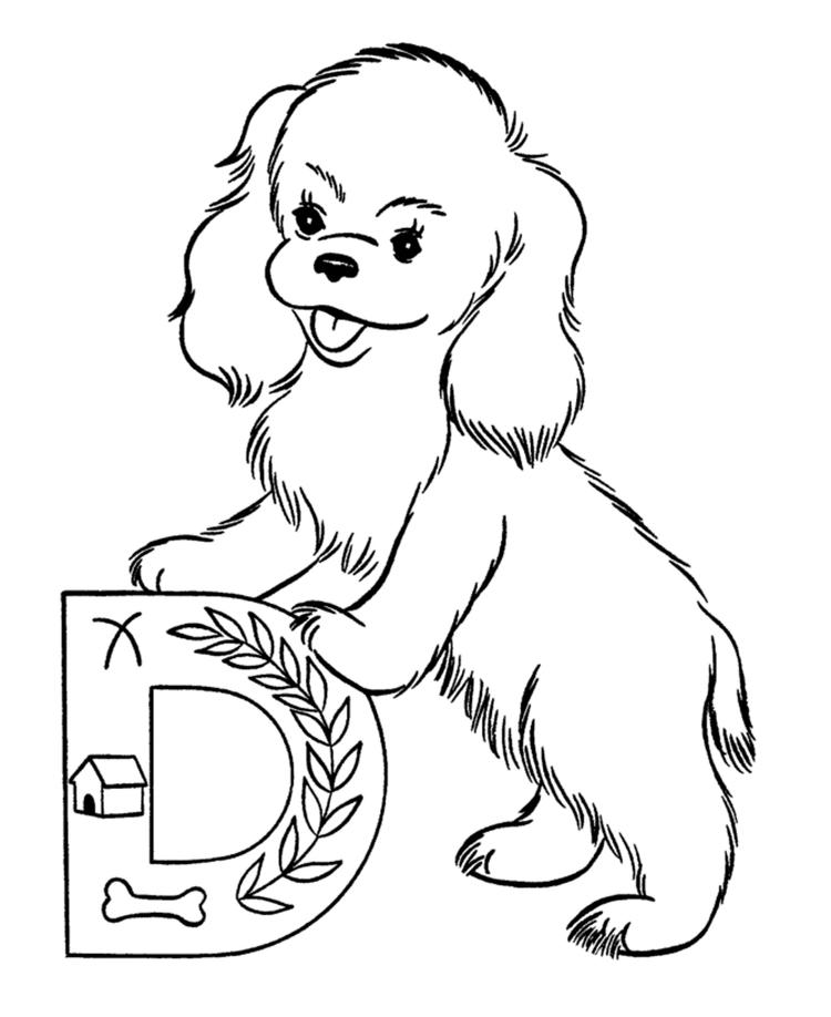 Cute Dog Printable Alphabet Coloring Pages1