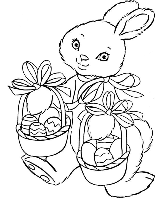 Cute Easter Bunny With Egg Basket Easter Coloring Pages