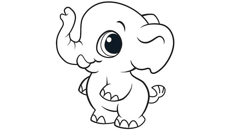 Cute Elephant Coloring Pages For Kids