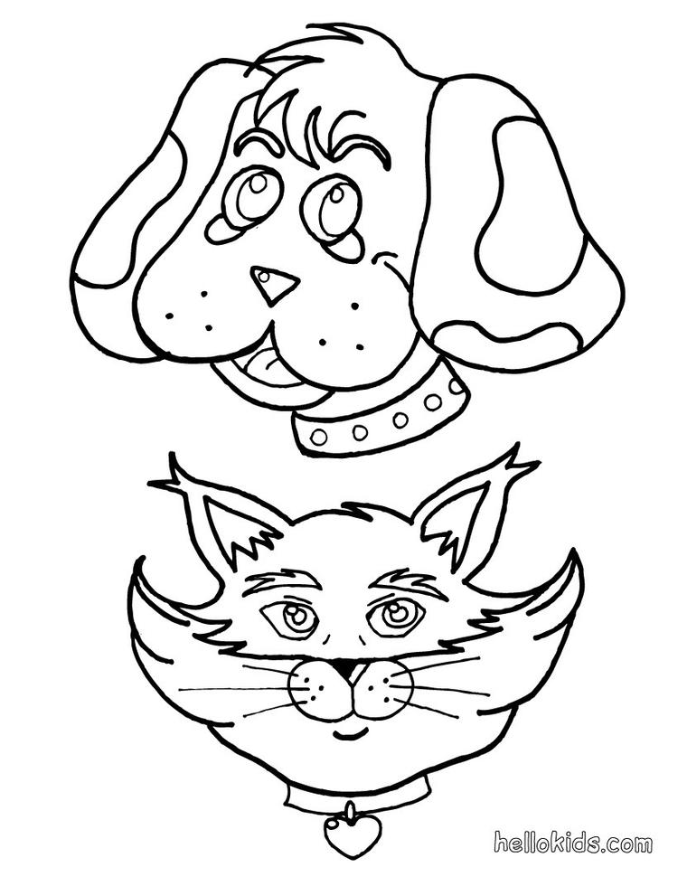 Cute Face Dog And Cat Coloring Pages