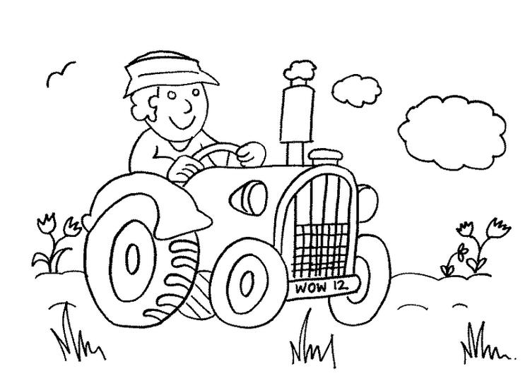 Cute Farmer Driving Tractor Coloring Page