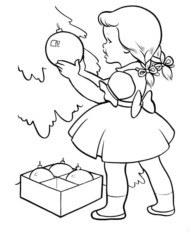Cute Girl Decor Christmas Tree Christmas Coloring Pages