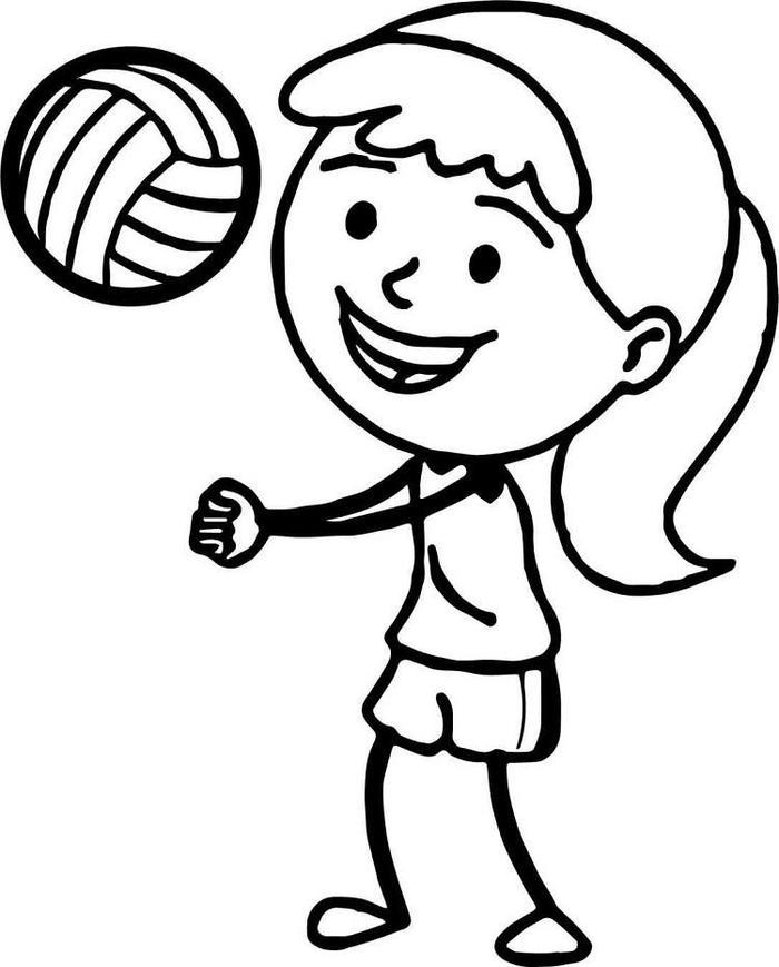 Cute Girl Rbie Playing Volleyball Coloring Pages