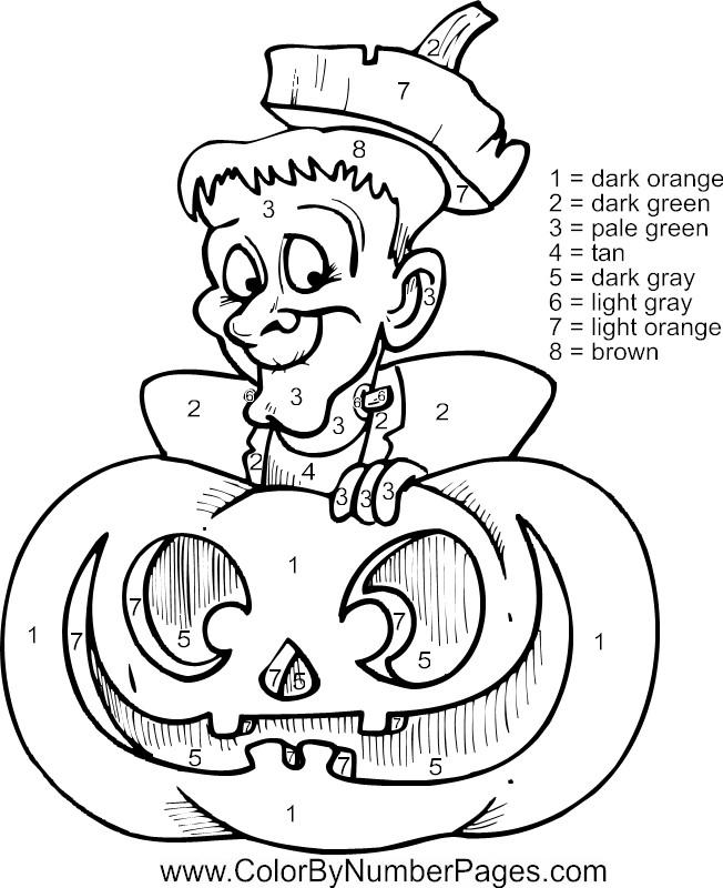 Cute Halloween Color By Number Pages
