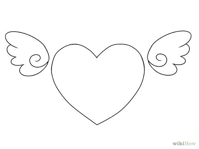 Cute Heart With Wings Coloring Pages Printable