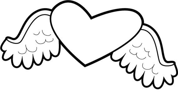 Cute Heart With Wings Coloring Pages