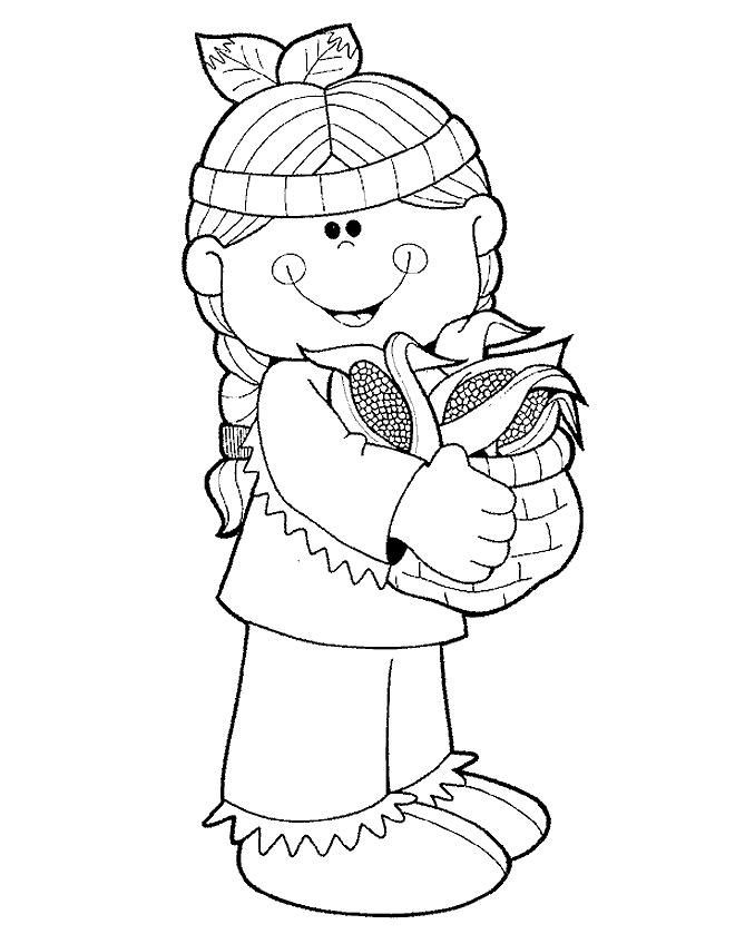 Cute Indian Girl Thanksgiving Coloring Pages