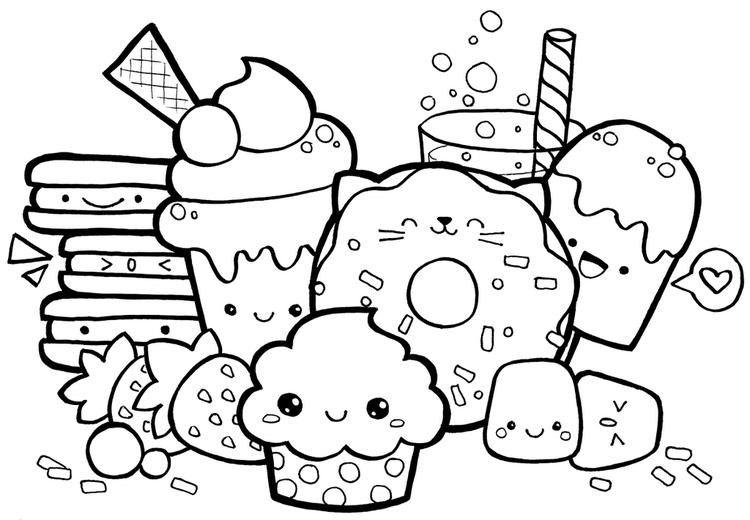 Cute Kawaii Food With Faces Coloring Page