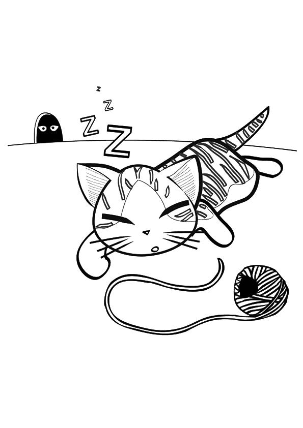 Cute Kitten Coloring Pages Sleeping