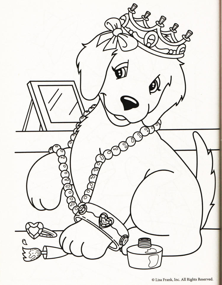 Cute Lisa Frank Dog Coloring Pages