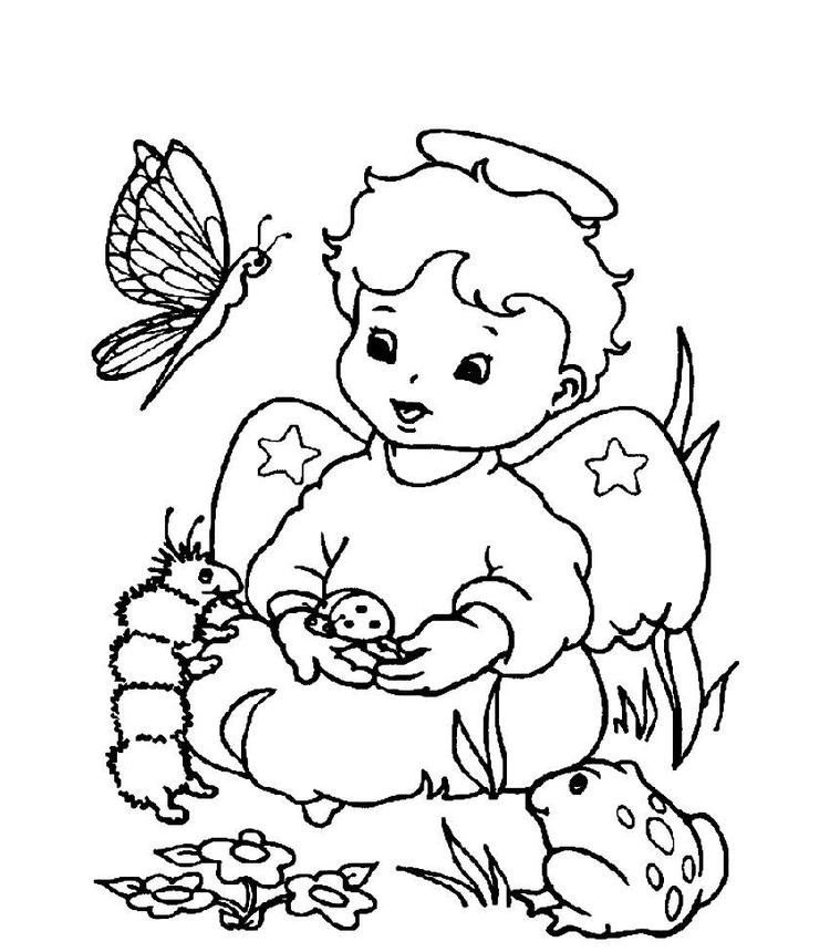 Cute Little Christmas Angel With Animals Coloring Page