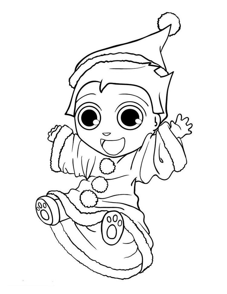 Cute Little Elf Chirstmas Coloring Page