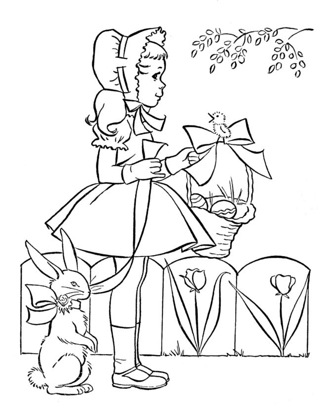 Cute Little Girl With Easter Egg And Easter Bunny Coloring Pages