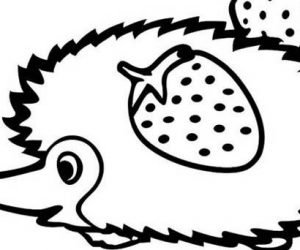 Cute little hedgehog bring strawberry coloring pages