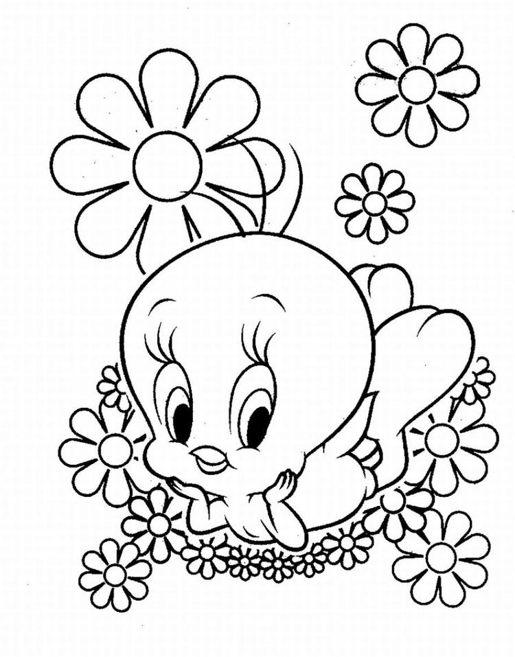 Cute Looney Tunes Tweety Bird Coloring Pages