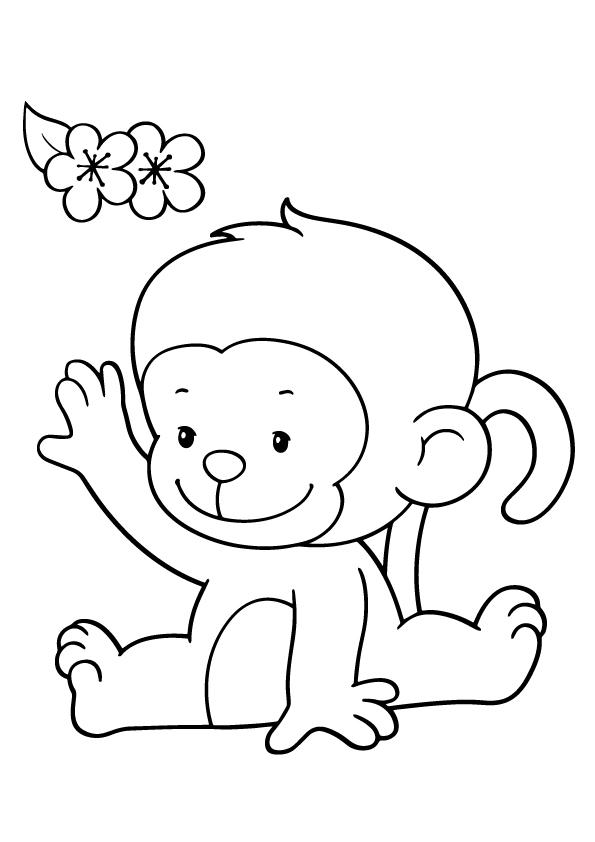 Cute Monkey Coloring Pages With Flowers