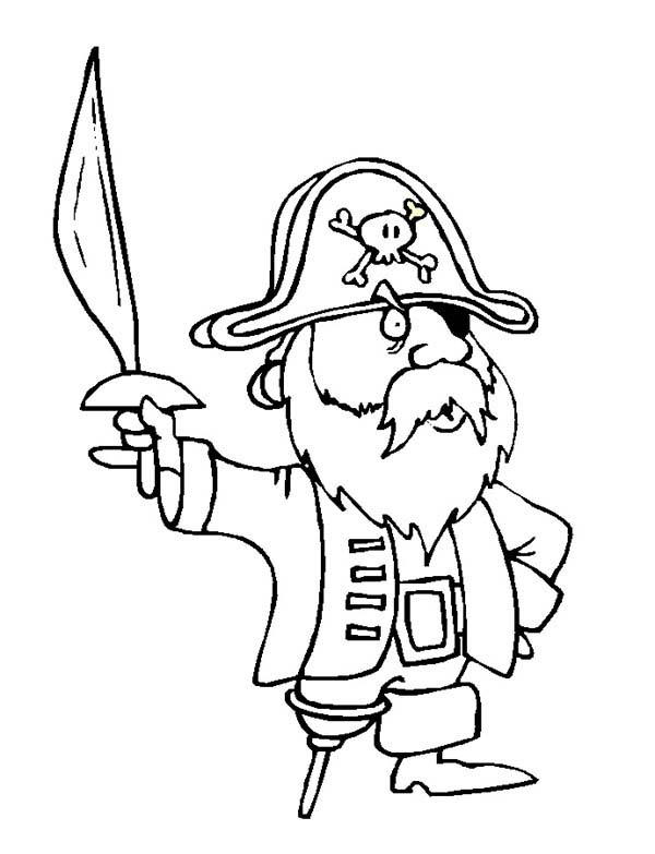 Cute Pirate Holding Sword Coloring Pages