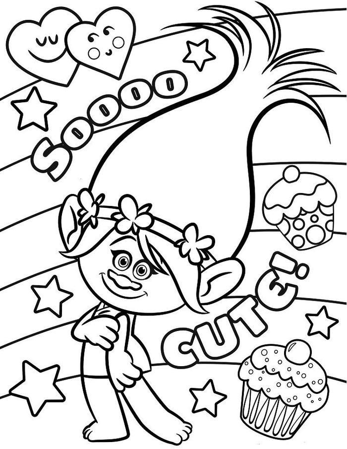 Cute Poppy Trolls Coloring Pages