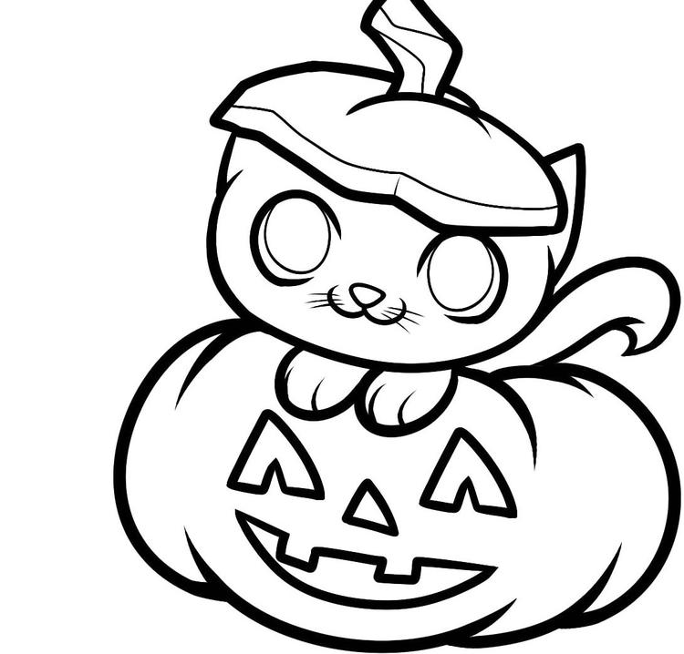 Cute Pumpkin Coloring Pages With Kitten