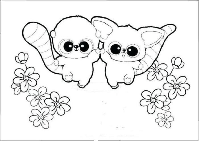 Cute Puppies And Kittens Coloring Pages