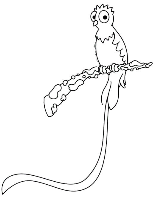 Cute Quetzal Coloring Page For Kids