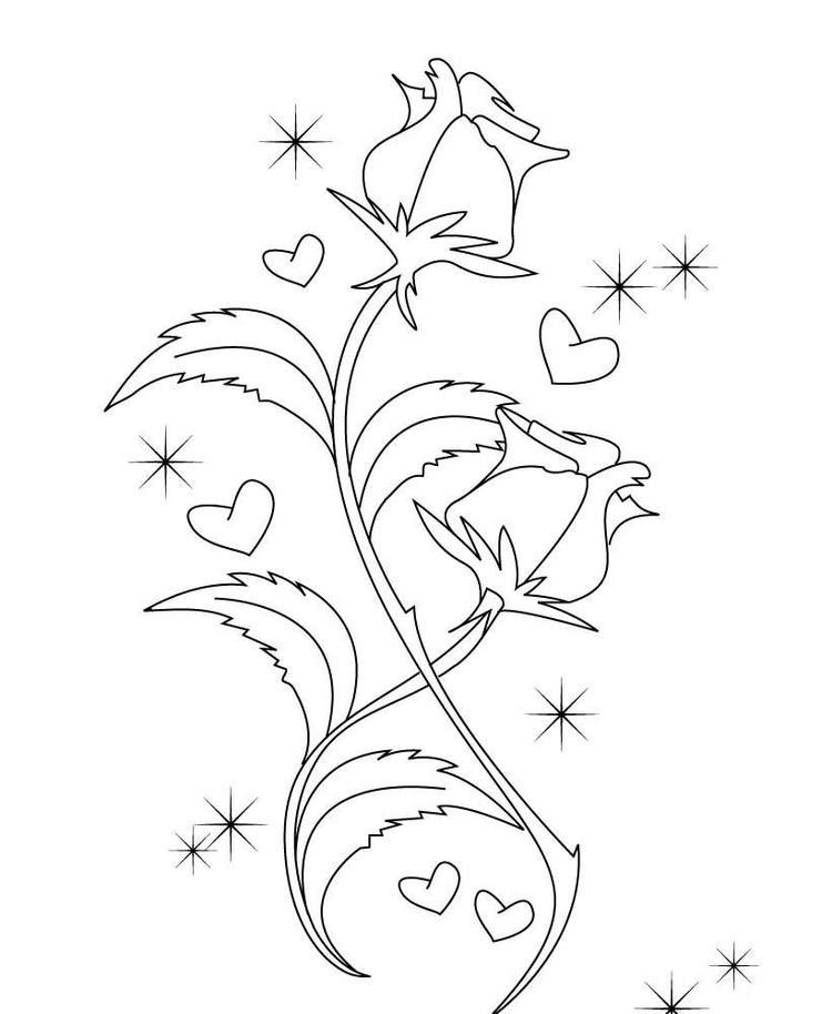 Cute Roses Valentines Coloring Pages