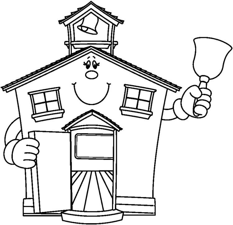 Cute School House Coloring Pages 1