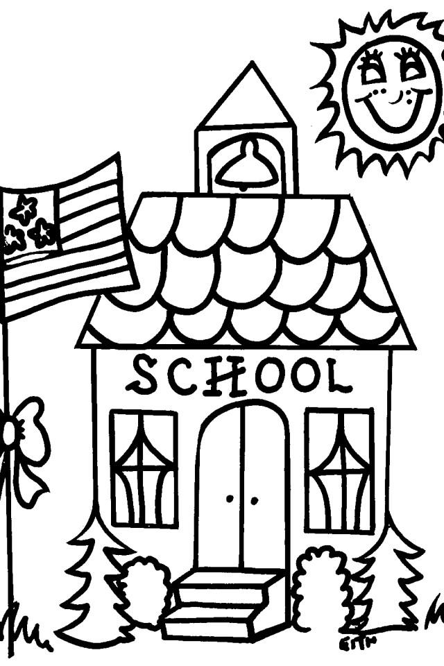 Cute School House Coloring Pages