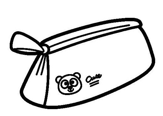 Cute School Pencil Case With Bear Themed Coloring Page