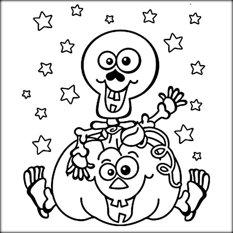 Cute Skeleton Coloring Pages And Pumpkin