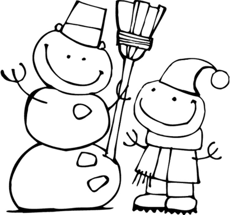 Cute Snowman Winter Coloring Pages