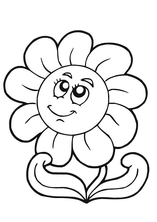 Cute Sunflower Coloring Pages