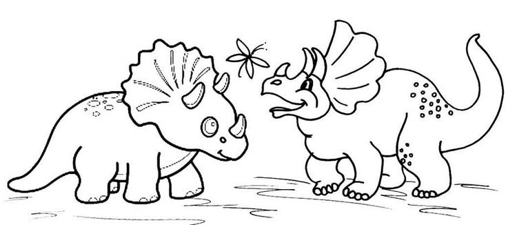 Cute Triceratops Coloring Page For Kids