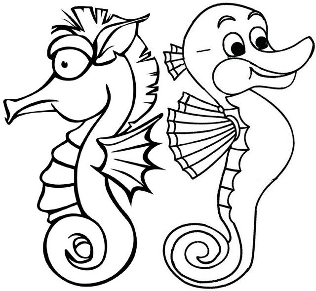 Cute Two Baby Dwarf Seahorses Coloring Page