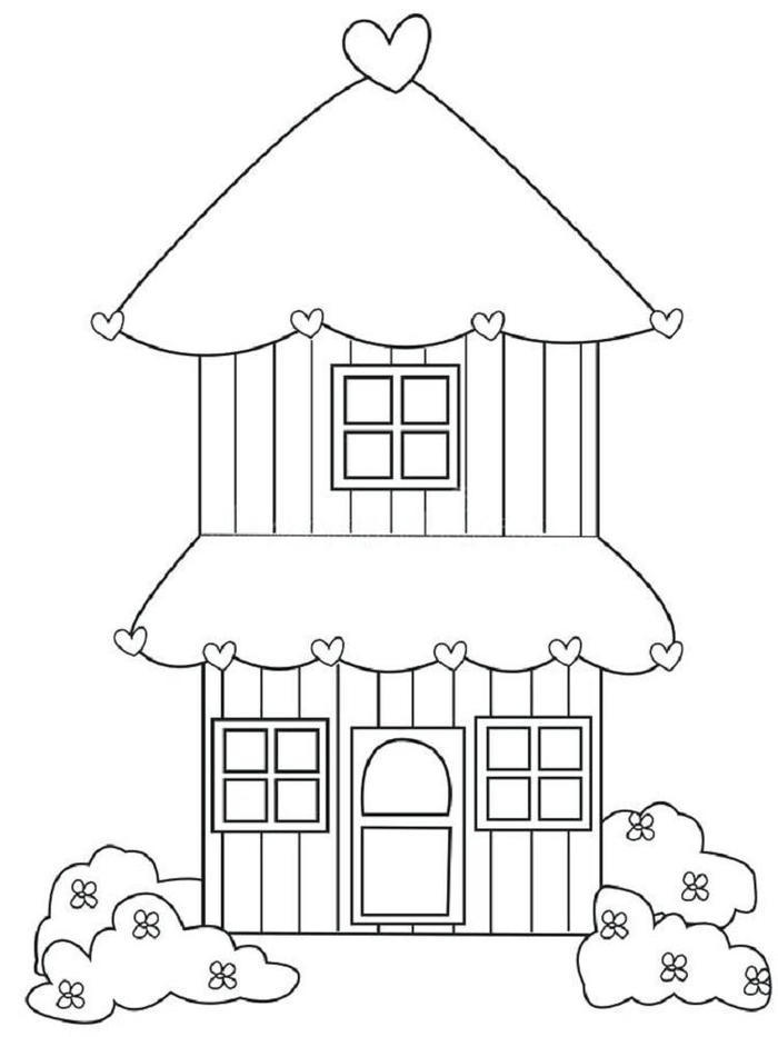 Cute Two Storey House Coloring Pages
