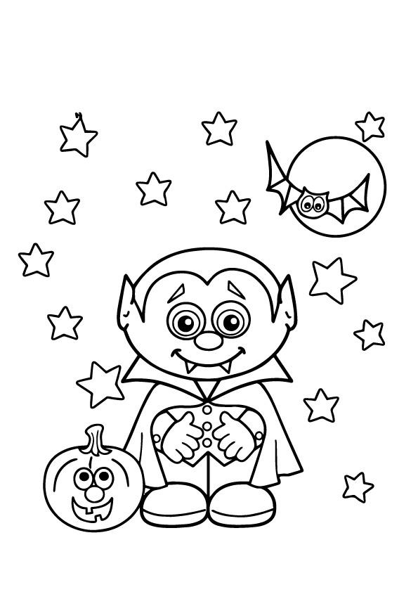 Cute Vampire Coloring Pages With Pupmkin And Bat