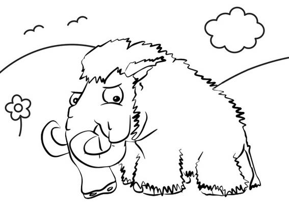 Cute Mammoth Cartoon Coloring Page