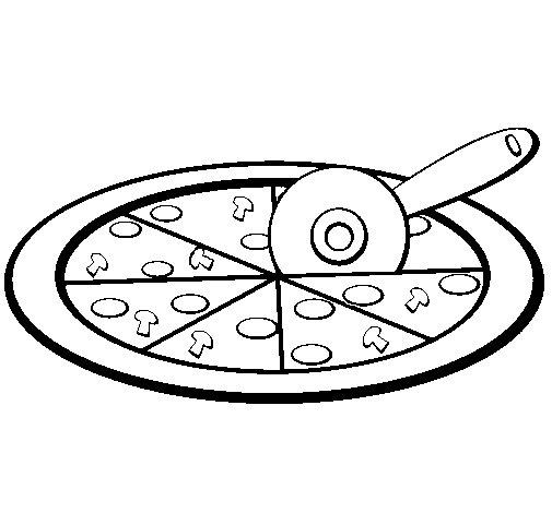 Cutting Pizza Coloring Pages